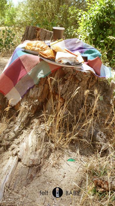 Tronco mesa picnic río de Escalona a
