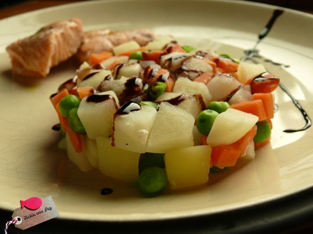 Receta rápida salmón vapor detalle verduras